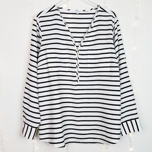 Calvin Klein | Striped Zip Up Long Sleeve Blouse